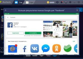 facebook через bluestacks